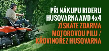 Při nákupu rideru Husqvarna AWD 4x4 získáte zdarma motorovou pilu / křovinořez Husqvarna
